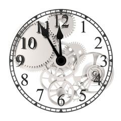 Uhr mit Zahrad grau