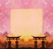 abstract Chinese landscape with a frame in the background
