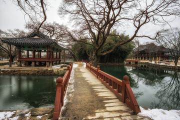 Traditional Gwanghalluwon Pavilion scene in winter.
