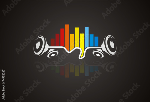 Sound wave music logo vector - 74952267
