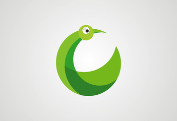 Bird circle concept logo vector