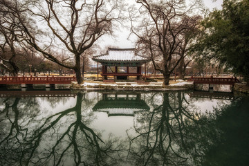 Traditional Gwanghalluwon Pavilion scene in winter.