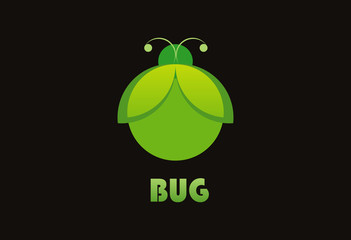 Green bug ecology logo vector