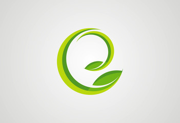 Ecology plant in circle logo vector