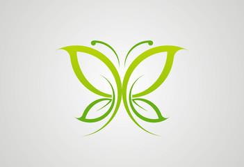Eco green butterfly logo vector