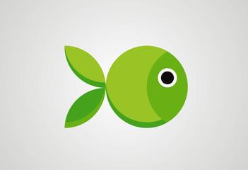 Fish in circle concept logo vector
