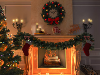 3d render New Year interior. Fireplace. Postcard