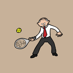 Businessman plaing tennis old