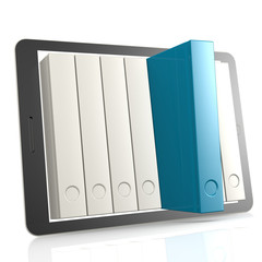 Blue book and tablet