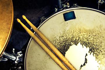 Music background. Drum close up image.
