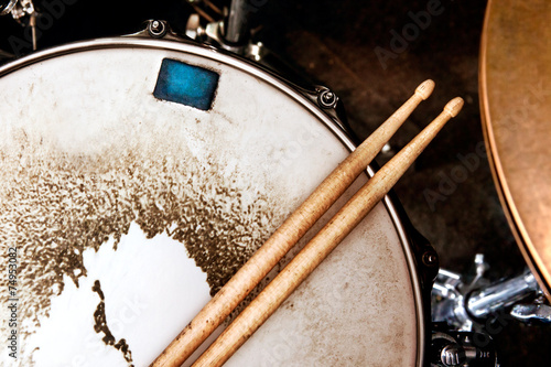 Staande foto Muziekwinkel Music background.Drum close up image.