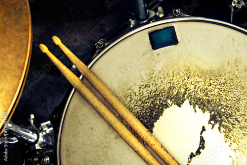 Music background. Drum close up image.