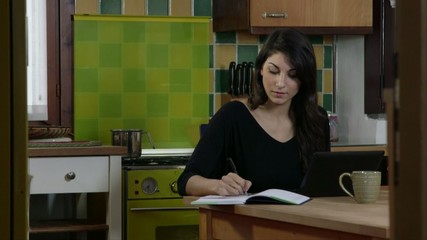 Business Woman Working At Home Laptop Pc And Smartphone