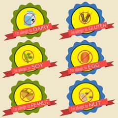 Food allergy badges vintage style