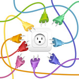Cable Clutter Plugs Socket Colors poster