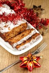 Fruit christmas cake with christmas toys