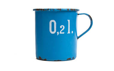 standing measuring jug of enamel