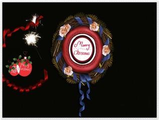 Merry Christmas avec fleurs et ruban bleu