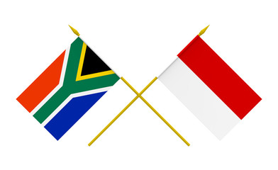 Flags, Indonesia and South Africa