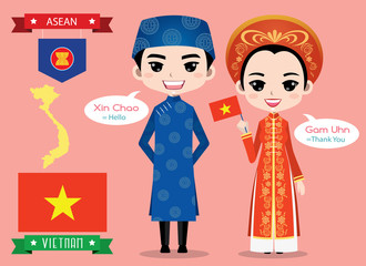 Vietnam boy and girl in traditional costume