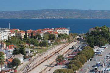 City and railway station on Mediterranean Sea. Split, Croatia