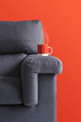 canapé tasse rouge
