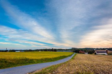 Farm fields along a country road in rural Lancaster County, Penn