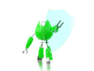 Green robot with transparent shield