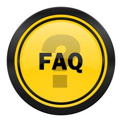 faq icon, yellow logo,