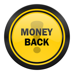 money back icon, yellow logo,
