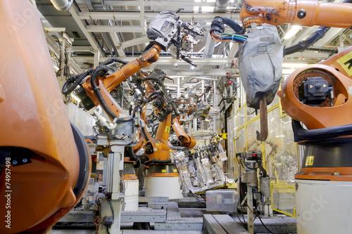 canvas print picture Schweissroboter Autoproduktion Automotive