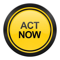 act now icon, yellow logo,