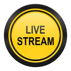 live stream icon, yellow logo,