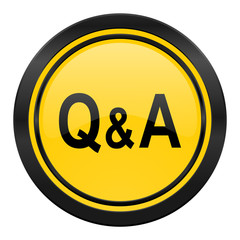 question answer icon, yellow logo,