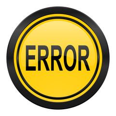 error icon, yellow logo,