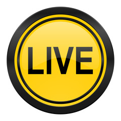 live icon, yellow logo,