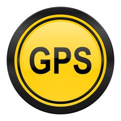 gps icon, yellow logo,