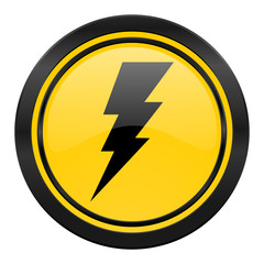 bolt icon, yellow logo, flash sign