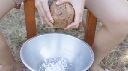 Coconut processing for make coconut milk