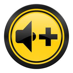 speaker volume icon, yellow logo, music sign