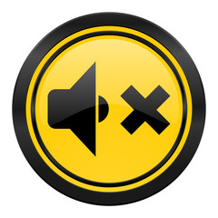 speaker volume icon, yellow logo, music sign