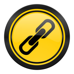 link icon, yellow logo, chain sign