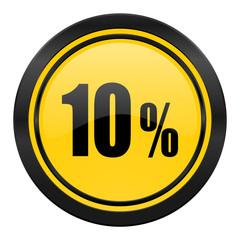 10 percent icon, yellow logo, sale sign