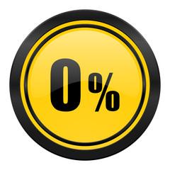 0 percent icon, yellow logo, sale sign