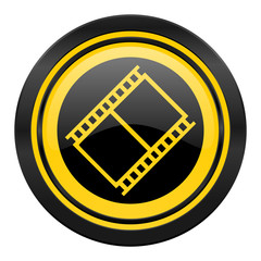 film icon, yellow logo, movie sign, cinema symbol