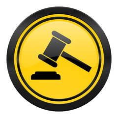 auction icon, yellow logo, court sign, verdict symbol