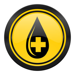 blood icon, yellow logo,