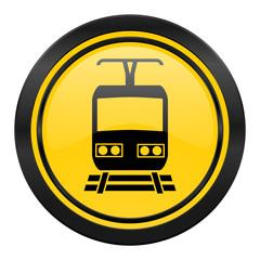 train icon, yellow logo, public transport sign