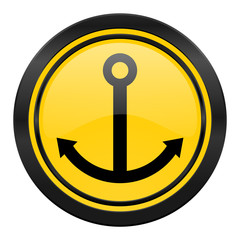 anchor icon, yellow logo, sail sign