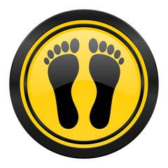 foot icon, yellow logo,